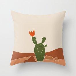 Red Crown cactus Throw Pillow