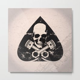 Grunge ace of spades Metal Print