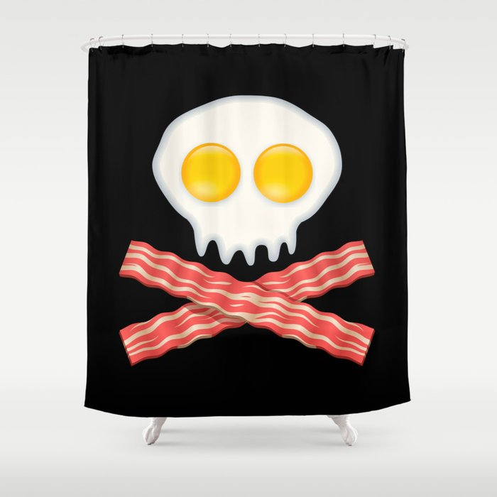 Skull With Crossed Bacon  Skull Bacon Eggs Shower Curtain