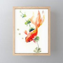 Goldfish, aquarium fish art, design watercolor fish painting Framed Mini Art Print