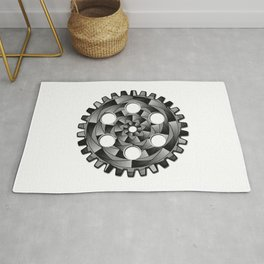 Gearwheel in black and white Rug