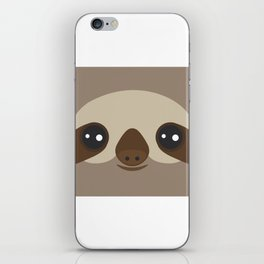 funny and cute smiling Three-toed sloth on brown background iPhone Skin