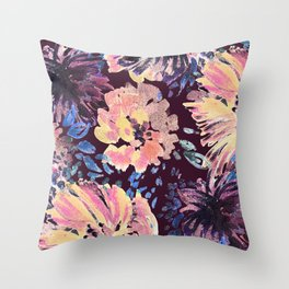 Brushed stylised flowers painting Throw Pillow