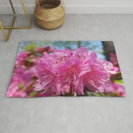 Rosy Rhododendron Flowers Rug