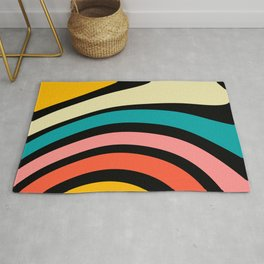Geometric Art, Colourful Prints, Retro Art Rug