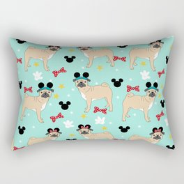 pug dog mouse ears theme park dog gifts Rectangular Pillow