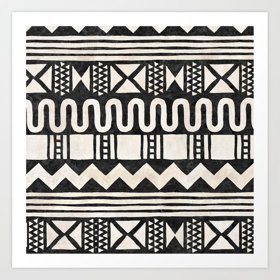 African Shapes - Black Art Print