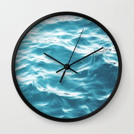 Water, Blue, Sea, Ocean, Minimal, Pattern, Modern art Wall Clock