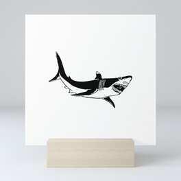Wild Shark with Jaws and Crazy Eye Sketch Mini Art Print