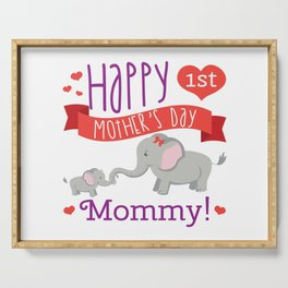 Happy Mothers Day Message Best Mom Elephant Gift Serving Tray