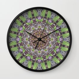 Natural elements in forest mandala Wall Clock