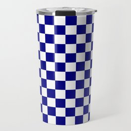 White and Navy Blue Checkerboard Travel Mug