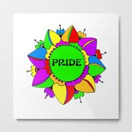 Rainbow Pride Mandala - White Background Metal Print