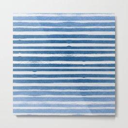 Blue Foil Stripes Metal Print