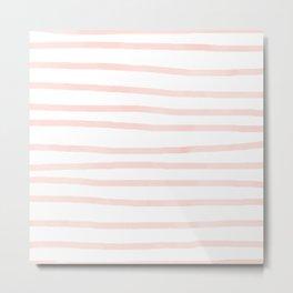 Seashell Pink Watercolor Stripes Metal Print