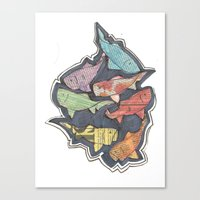 newspaper Canvas Prints featuring Newspaper Fish by Kate Allison