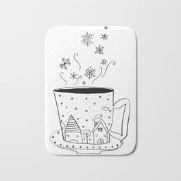A cup of snow flakes Bath Mat