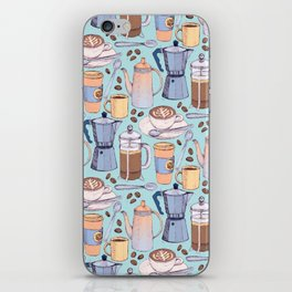 Coffee Love on Blue iPhone Skin