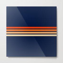 Minimal Orange Abstract Retro Racing Stripes 70s Style - Bluesane Metal Print