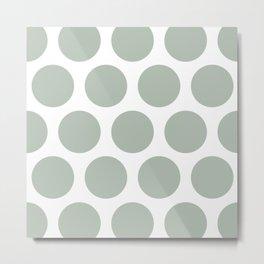 Large Polka Dots: Neutral Green Metal Print