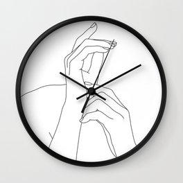Hands line drawing illustration - Eva Wall Clock