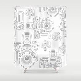 Grey Cameras Shower Curtain