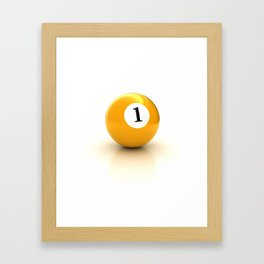 yellow pool billiard ball number 1 one Framed Art Print