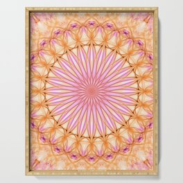 Mandala in pink, yellow and orange tones Serving Tray
