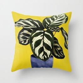 calathea watercolor yellow Throw Pillow