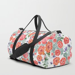 Floral pattern. Red, purple flowers on white. Duffle Bag