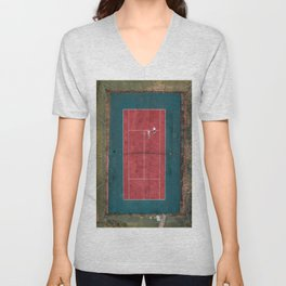Tennis court, view of drone Unisex V-Neck
