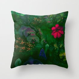 Gathering of Flowers - [Green Version] Throw Pillow