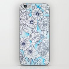 Floral Doodle in Blue iPhone & iPod Skin