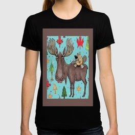 Canada Canadian wildlife, moose and beaver T-shirt