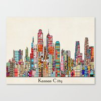 kansas city Canvas Prints featuring kansas city Missouri skyline by bri.buckley