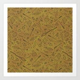 Yer a Wizard - Yellow + Black Art Print