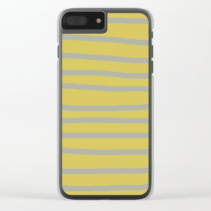 Simply Drawn Stripes Retro Gray on Mod Yellow Clear iPhone Case