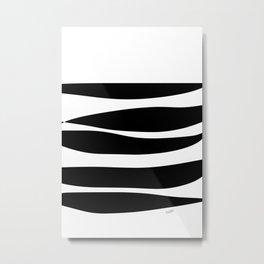 Irregular Stripes Black White Waves Art Design Metal Print