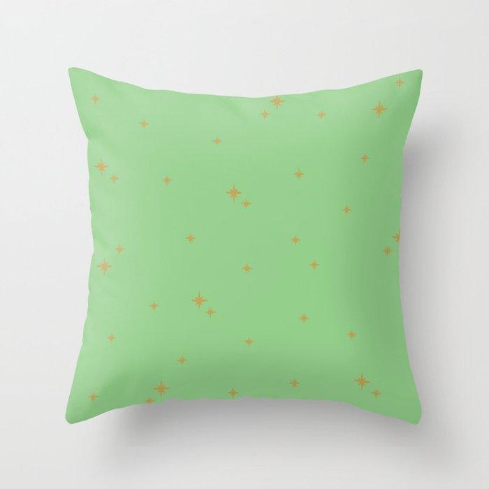 Mint Green Starburst Pattern Throw Pillow