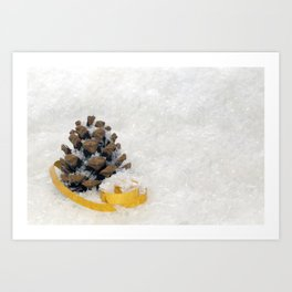 Fir Cones in Snow With Gold Ribbon Art Print