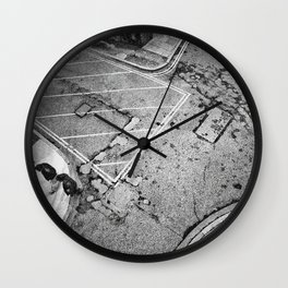 LONDON STREET BLACK AND WHITE PHOTOGRAPH Wall Clock