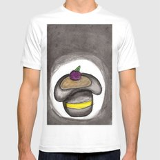A Single Plum, Floating in Perfume, Served in a Man's Hat MEDIUM White Mens Fitted Tee
