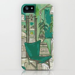 Cozy apartment with flowers/plants and books iPhone Case