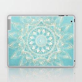 Elegant White Gold Mandala Sky Blue Design Laptop & iPad Skin