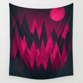 Dark Triangles (Peak Woods) Abstract Grunge Mountains Design (red/black) Wall Tapestry