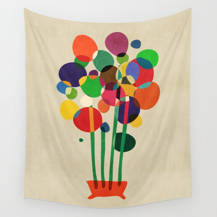 Happy flowers in the vase Wall Tapestry