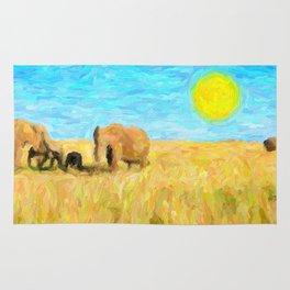 abstract elephants herd Rug