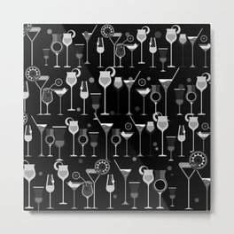 Retro Vintage Cocktail Pattern 3 Metal Print