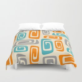 Mid Century Modern Cosmic Abstract 740 Orange Blue and Gray Duvet Cover