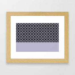 Black Square Petals Graphic Design Pattern on PPG Wild Lilac Framed Art Print